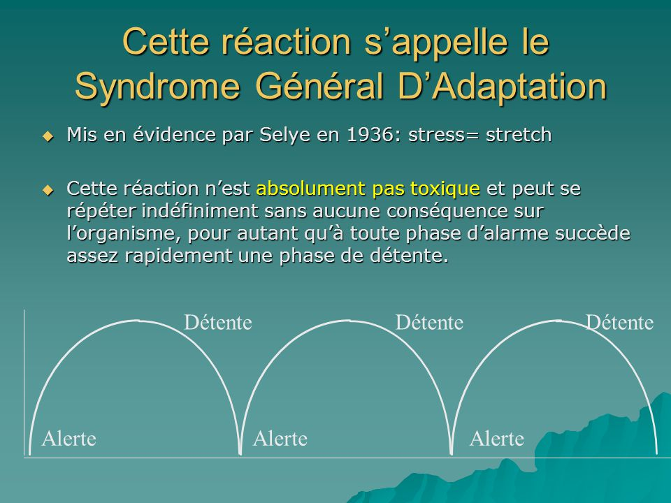 Cette réaction sappelle le Syndrome Général DAdaptation Mis en évidence par Selye en 1936: stress= stretch Mis en évidence par Selye en 1936: stress=