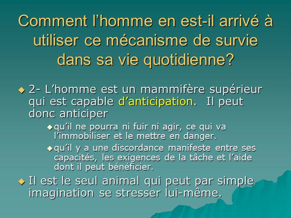 Comment lhomme en est-il arrivé à utiliser ce mécanisme de survie dans sa vie quotidienne? 2- Lhomme est un mammifère supérieur qui est capable dantic
