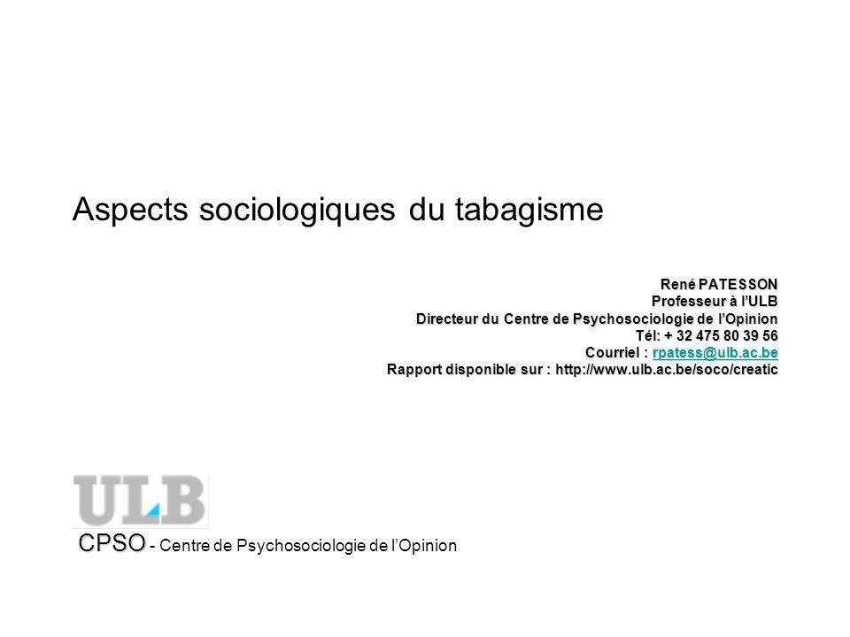 Aspects sociologiques du tabagisme René PATESSON Professeur à lULB Directeur du Centre de Psychosociologie de lOpinion Tél: + 32 475 80 39 56 Courriel : rpatess@ulb.ac.be rpatess@ulb.ac.be Rapport disponible sur : http://www.ulb.ac.be/soco/creatic CPSO CPSO - Centre de Psychosociologie de lOpinion