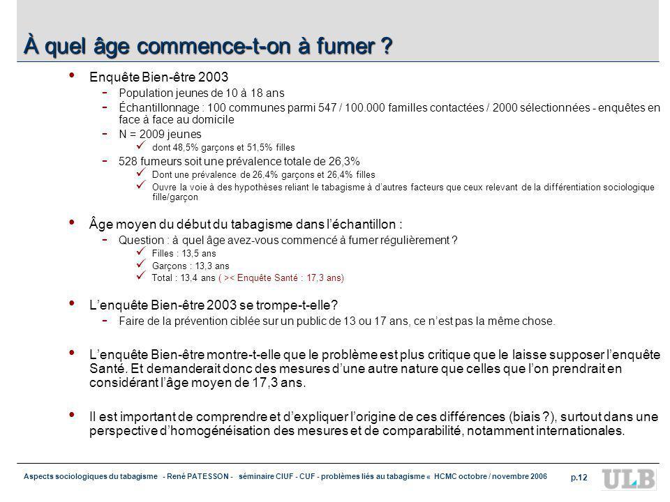 Aspects sociologiques du tabagisme - René PATESSON - séminaire CIUF - CUF - problèmes liés au tabagisme « HCMC octobre / novembre 2006 p.12 À quel âge commence-t-on à fumer .