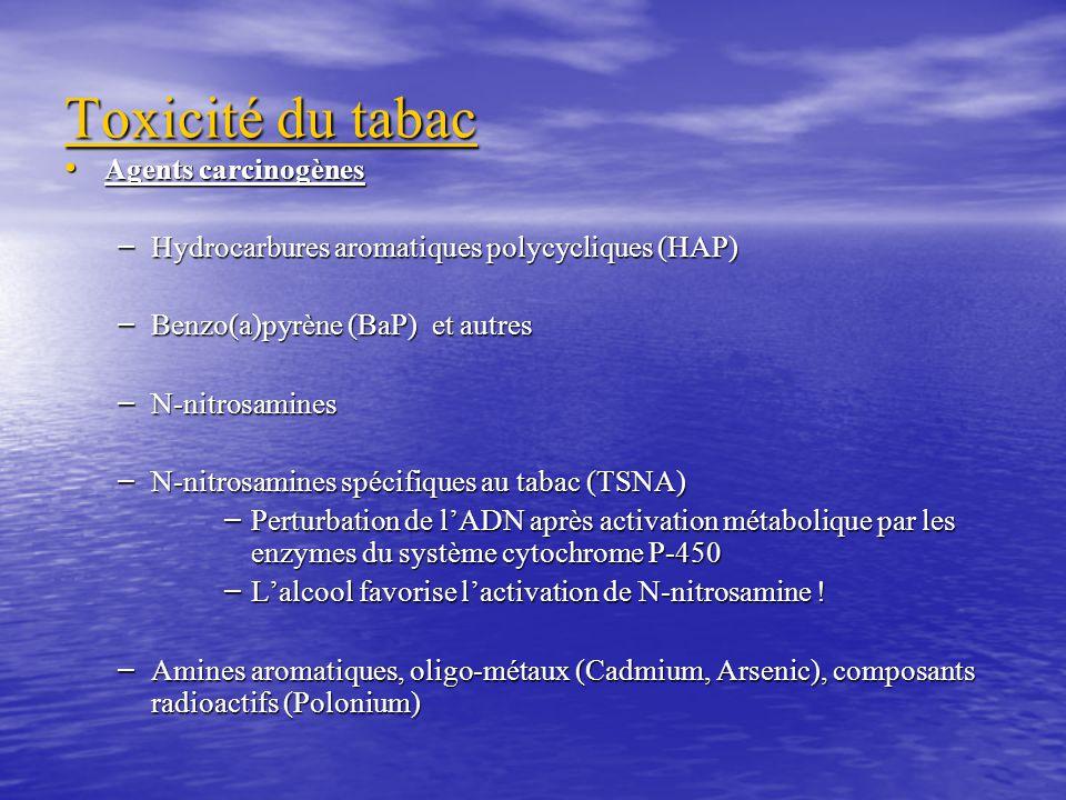 Toxicité du tabac Agents carcinogènes Agents carcinogènes – Hydrocarbures aromatiques polycycliques (HAP) – Benzo(a)pyrène (BaP) et autres – N-nitrosamines – N-nitrosamines spécifiques au tabac (TSNA) – Perturbation de lADN après activation métabolique par les enzymes du système cytochrome P-450 – Lalcool favorise lactivation de N-nitrosamine .