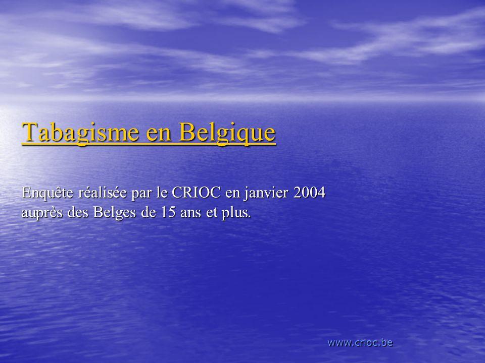 Tabagisme en Belgique Enquête réalisée par le CRIOC en janvier 2004 auprès des Belges de 15 ans et plus. www.crioc.be