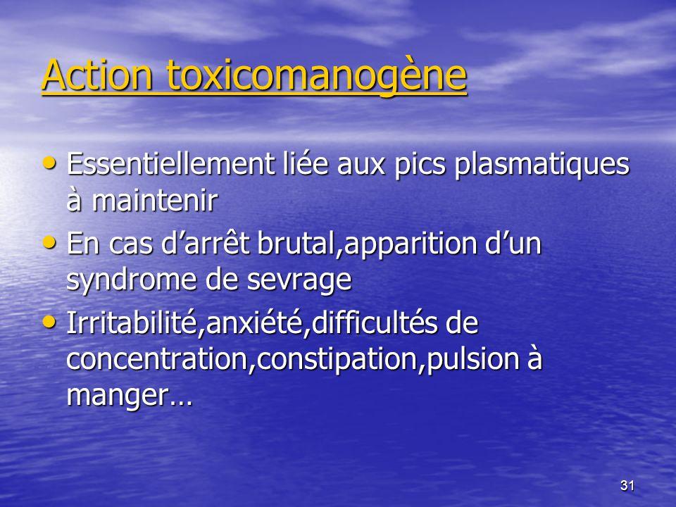 31 Action toxicomanogène Essentiellement liée aux pics plasmatiques à maintenir Essentiellement liée aux pics plasmatiques à maintenir En cas darrêt b