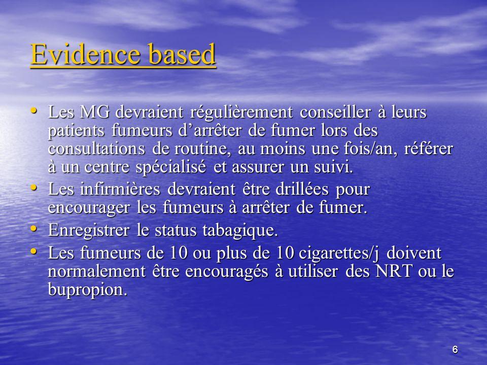 6 Evidence based Les MG devraient régulièrement conseiller à leurs patients fumeurs darrêter de fumer lors des consultations de routine, au moins une