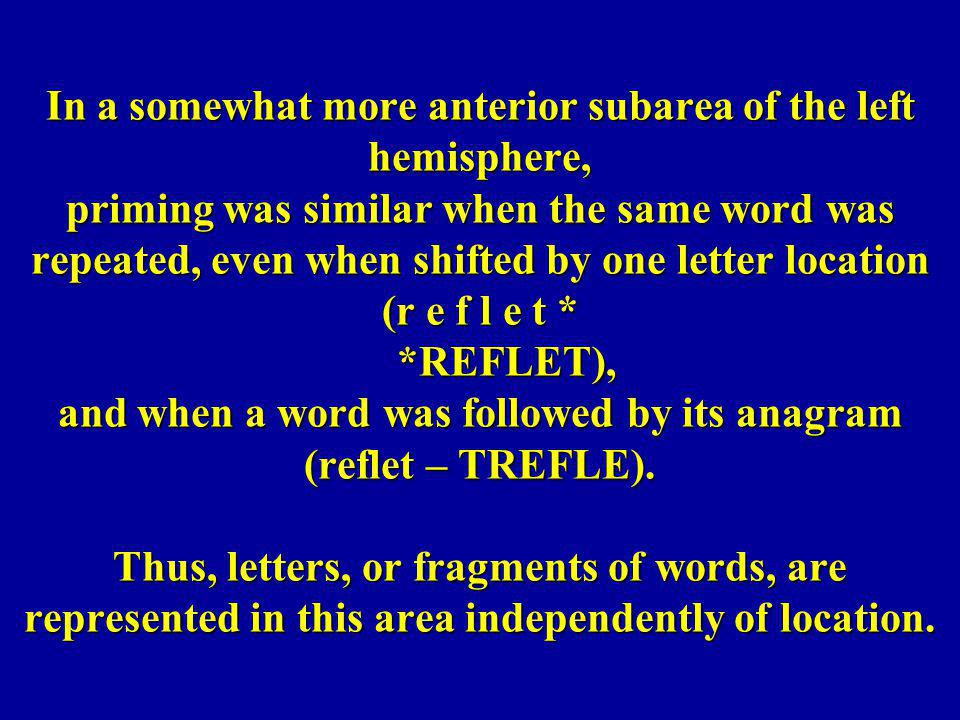 In a somewhat more anterior subarea of the left hemisphere, priming was similar when the same word was repeated, even when shifted by one letter locat