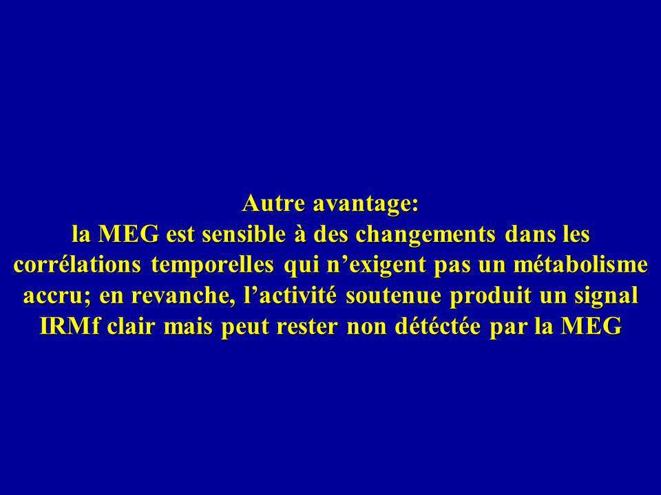 Autre avantage: la MEG est sensible à des changements dans les corrélations temporelles qui nexigent pas un métabolisme accru; en revanche, lactivité