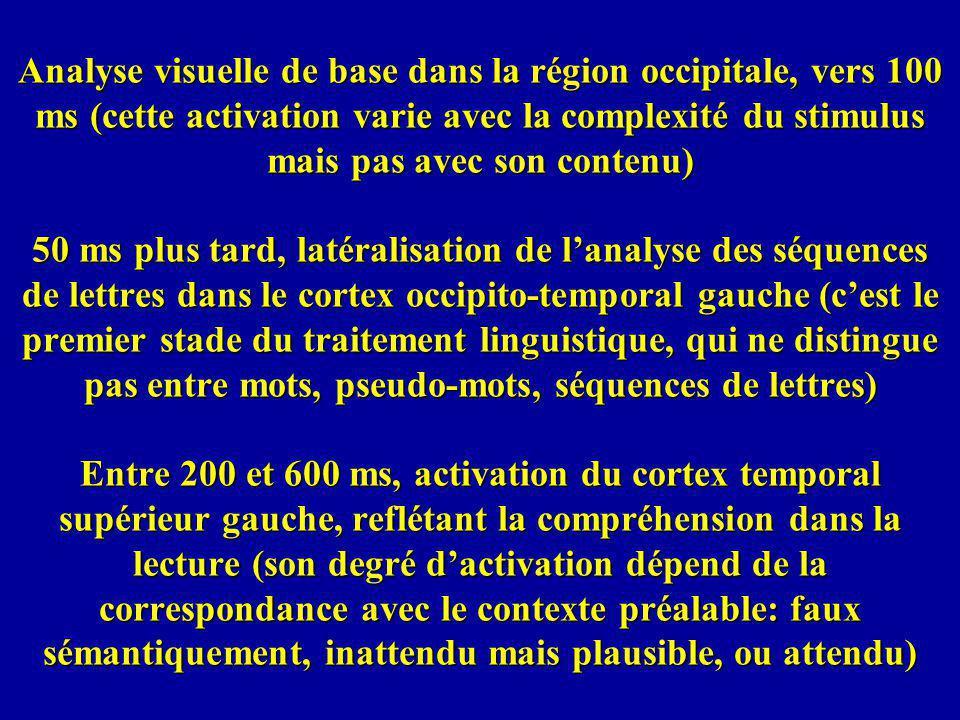 Analyse visuelle de base dans la région occipitale, vers 100 ms (cette activation varie avec la complexité du stimulus mais pas avec son contenu) 50 m