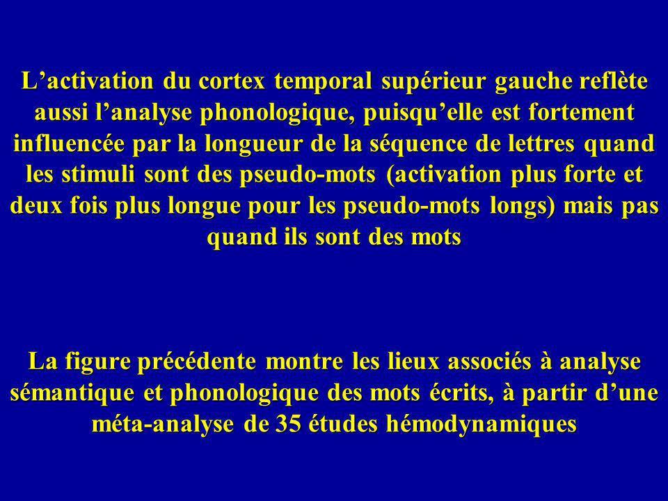 Lactivation du cortex temporal supérieur gauche reflète aussi lanalyse phonologique, puisquelle est fortement influencée par la longueur de la séquenc