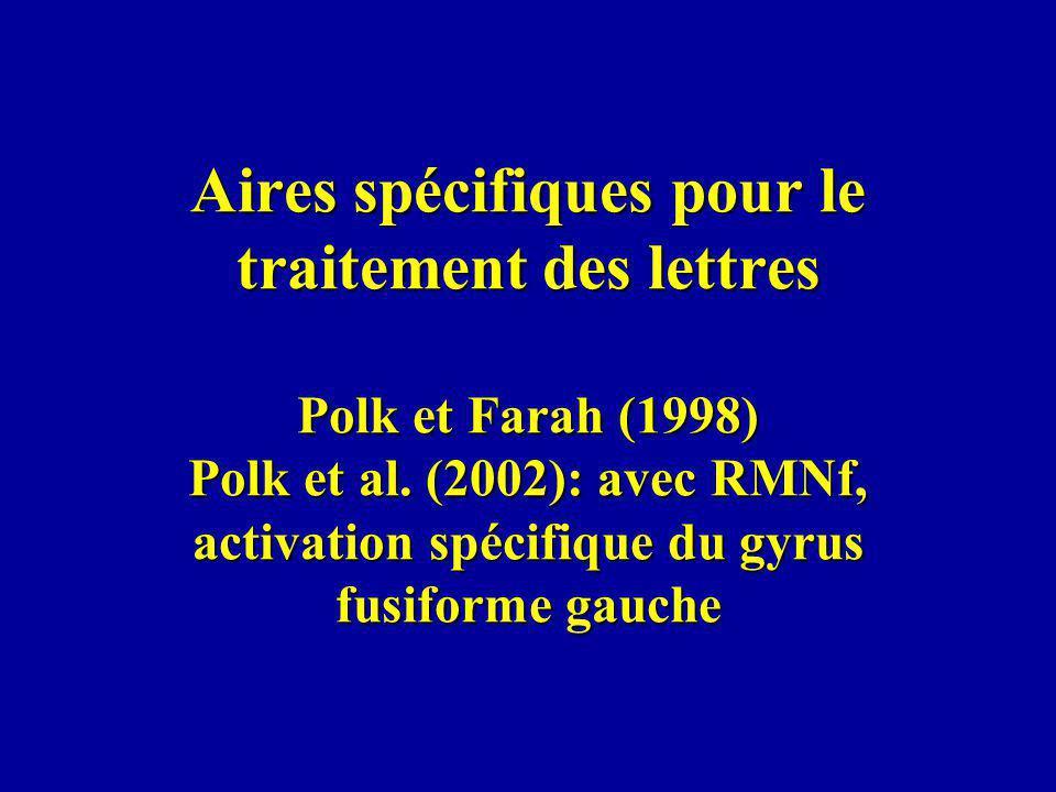 Aires spécifiques pour le traitement des lettres Polk et Farah (1998) Polk et al. (2002): avec RMNf, activation spécifique du gyrus fusiforme gauche