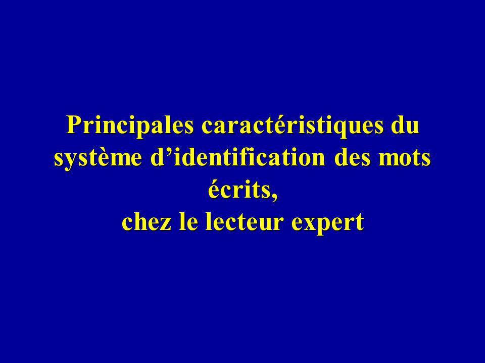 Principales caractéristiques du système didentification des mots écrits, chez le lecteur expert