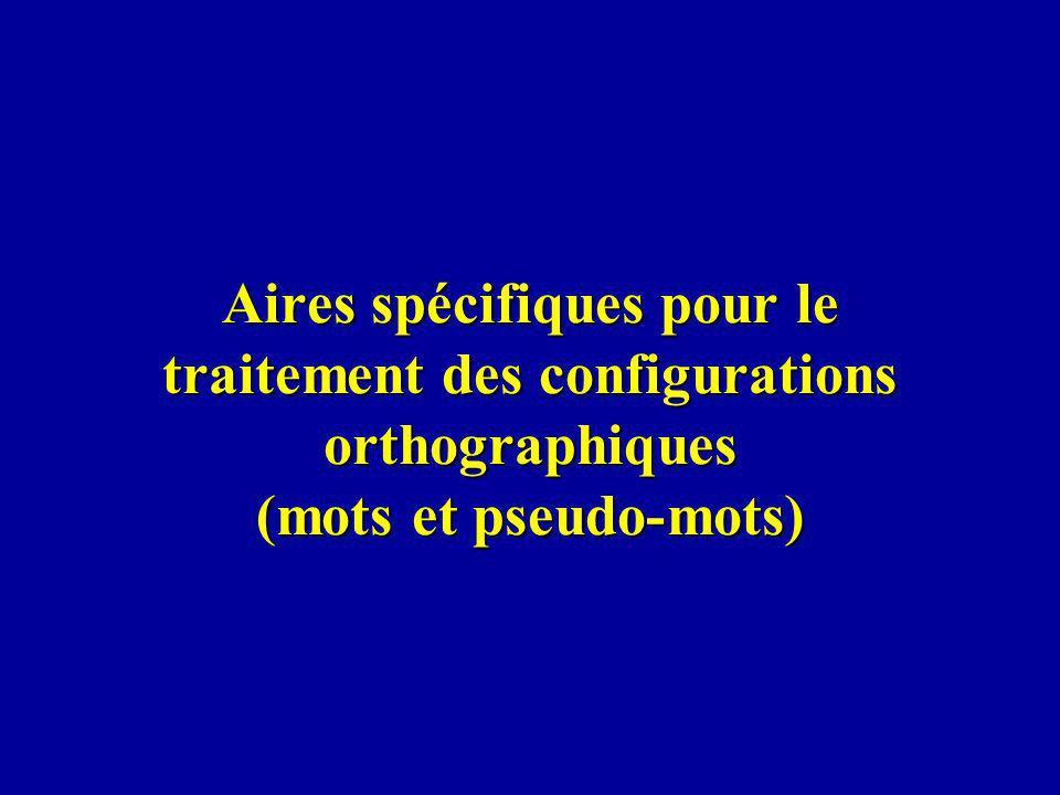 Aires spécifiques pour le traitement des configurations orthographiques (mots et pseudo-mots)