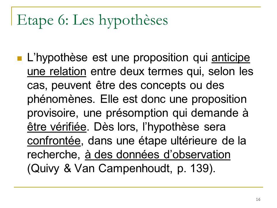 17 Etape 7: Lopérationnalisation des hypothèses = processus de concrétisation de ce que lon veut étudier scientifiquement (Angers 1992: 102) = létape intermédiaire et essentielle entre lhypothèse et le travail empirique danalyse (Mace 1988: 47)
