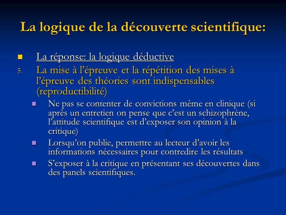 La logique de la découverte scientifique: La réponse: la logique déductive La réponse: la logique déductive 5.