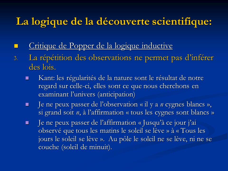 La logique de la découverte scientifique: Critique de Popper de la logique inductive Critique de Popper de la logique inductive 3.