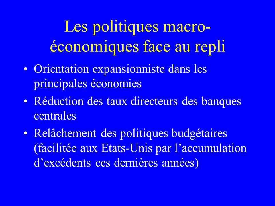 Les politiques macro- économiques face au repli Orientation expansionniste dans les principales économies Réduction des taux directeurs des banques ce