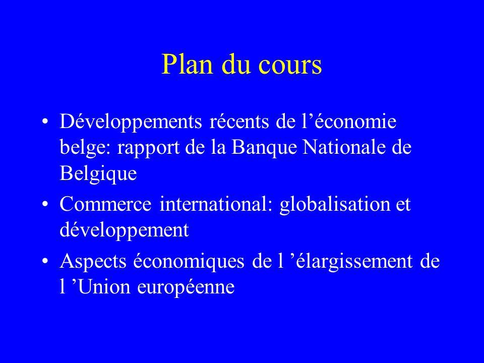 Plan du cours Développements récents de léconomie belge: rapport de la Banque Nationale de Belgique Commerce international: globalisation et développe