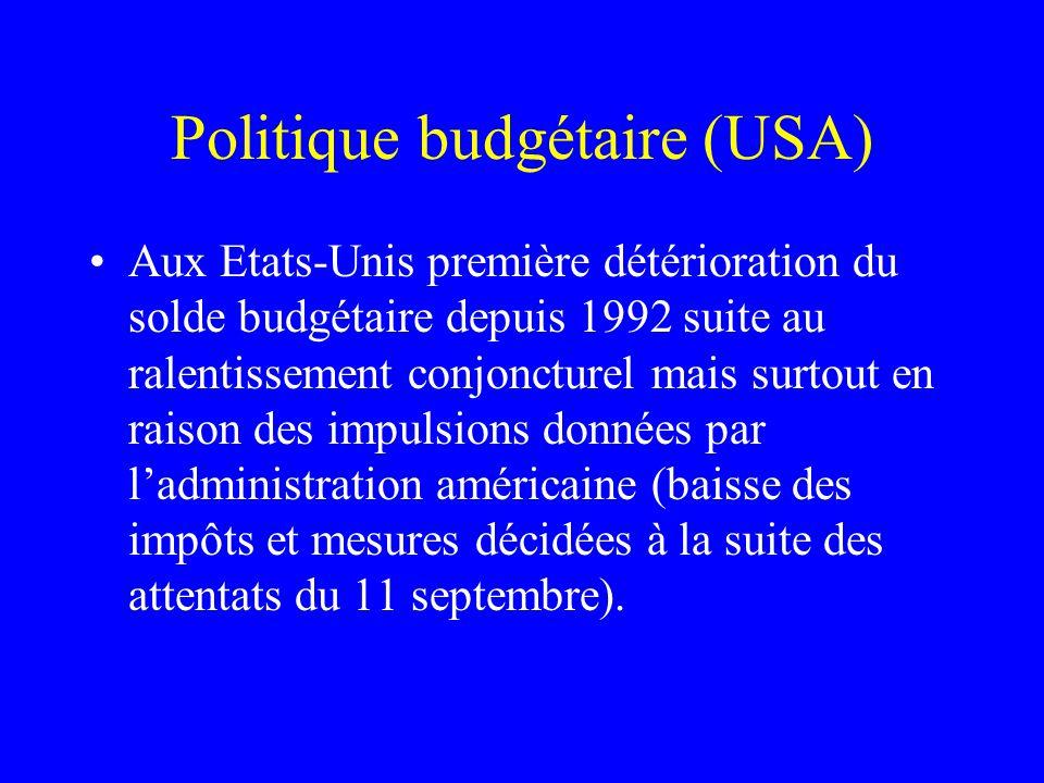 Politique budgétaire (USA) Aux Etats-Unis première détérioration du solde budgétaire depuis 1992 suite au ralentissement conjoncturel mais surtout en