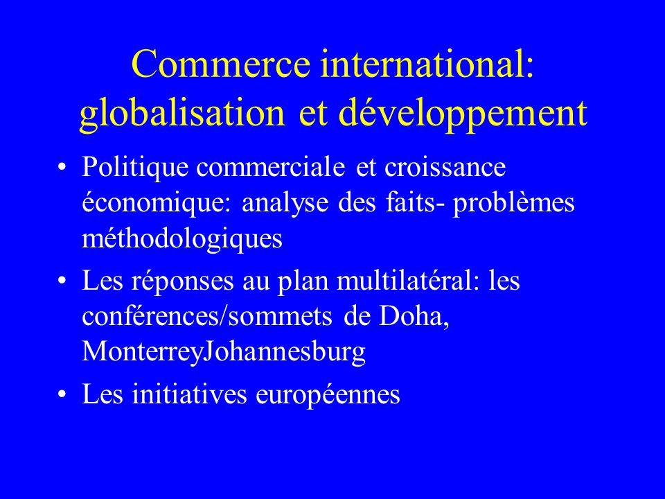 Commerce international: globalisation et développement Politique commerciale et croissance économique: analyse des faits- problèmes méthodologiques Le