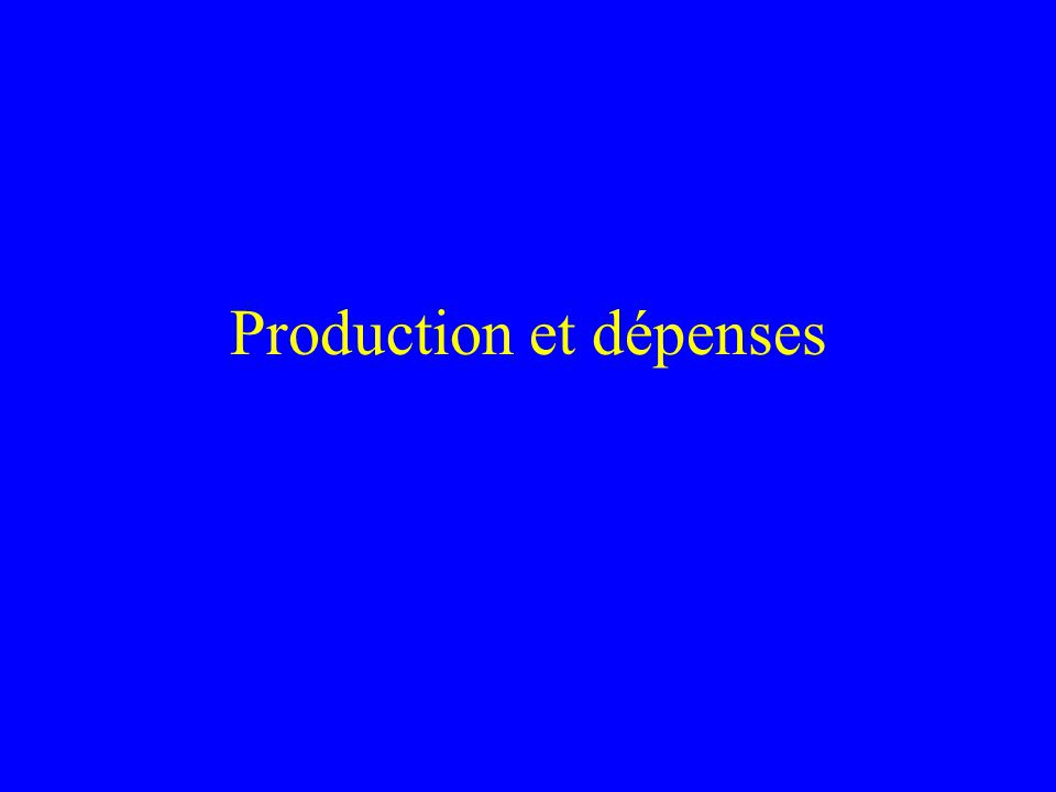 Production et dépenses