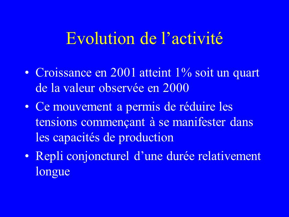 Evolution de lactivité Croissance en 2001 atteint 1% soit un quart de la valeur observée en 2000 Ce mouvement a permis de réduire les tensions commenç