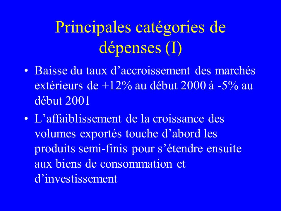 Principales catégories de dépenses (I) Baisse du taux daccroissement des marchés extérieurs de +12% au début 2000 à -5% au début 2001 Laffaiblissement