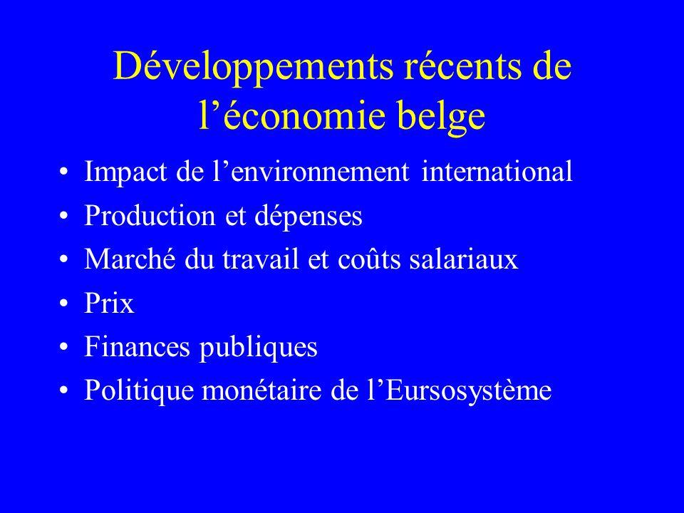Développements récents de léconomie belge Impact de lenvironnement international Production et dépenses Marché du travail et coûts salariaux Prix Fina