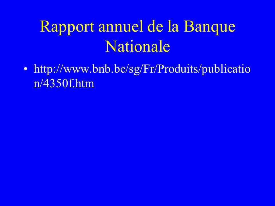 Rapport annuel de la Banque Nationale http://www.bnb.be/sg/Fr/Produits/publicatio n/4350f.htm