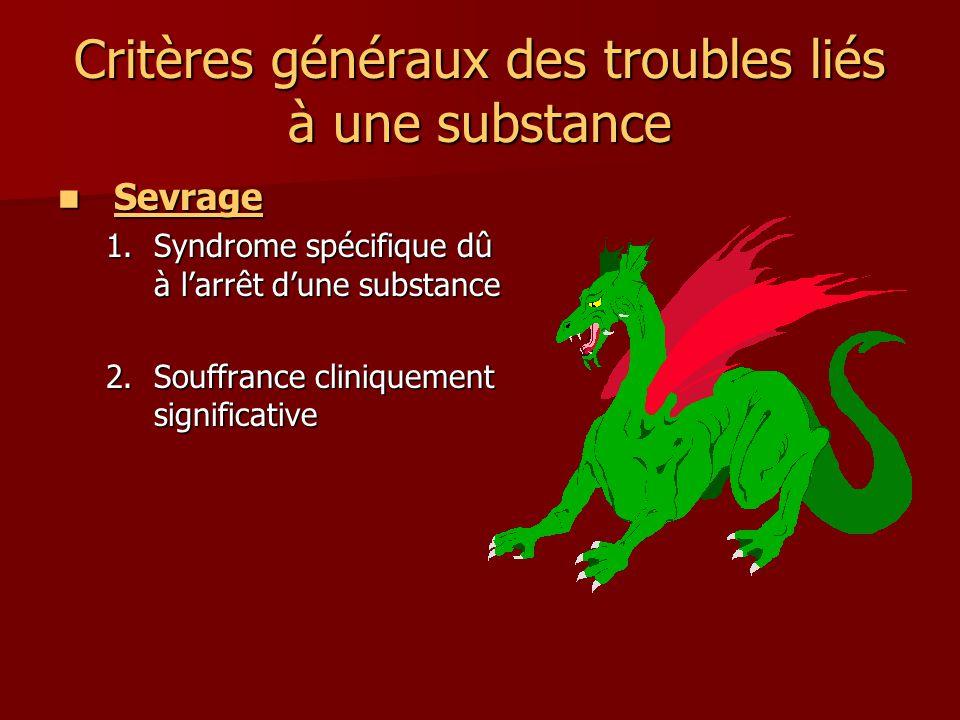Critères généraux des troubles liés à une substance Sevrage Sevrage 1.Syndrome spécifique dû à larrêt dune substance 2.Souffrance cliniquement significative
