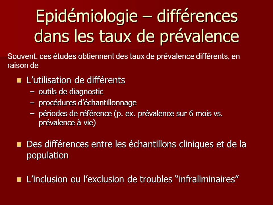 Epidémiologie – différences dans les taux de prévalence Lutilisation de différents Lutilisation de différents –outils de diagnostic –procédures déchantillonnage –périodes de référence (p.
