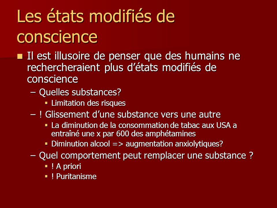 Les états modifiés de conscience Il est illusoire de penser que des humains ne rechercheraient plus détats modifiés de conscience Il est illusoire de penser que des humains ne rechercheraient plus détats modifiés de conscience –Quelles substances.