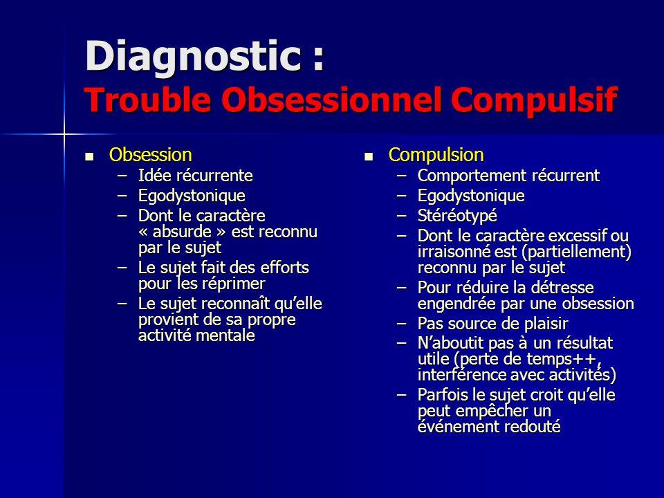 Diagnostic : Trouble Obsessionnel Compulsif Obsession Obsession –Idée récurrente –Egodystonique –Dont le caractère « absurde » est reconnu par le suje