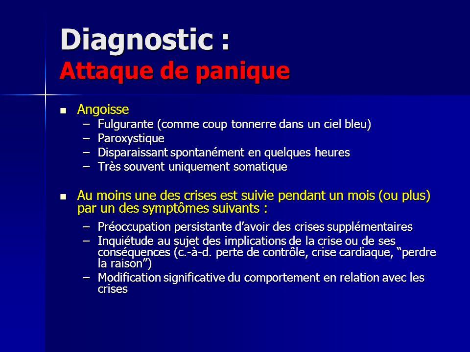 Diagnostic : Attaque de panique Angoisse Angoisse –Fulgurante (comme coup tonnerre dans un ciel bleu) –Paroxystique –Disparaissant spontanément en que