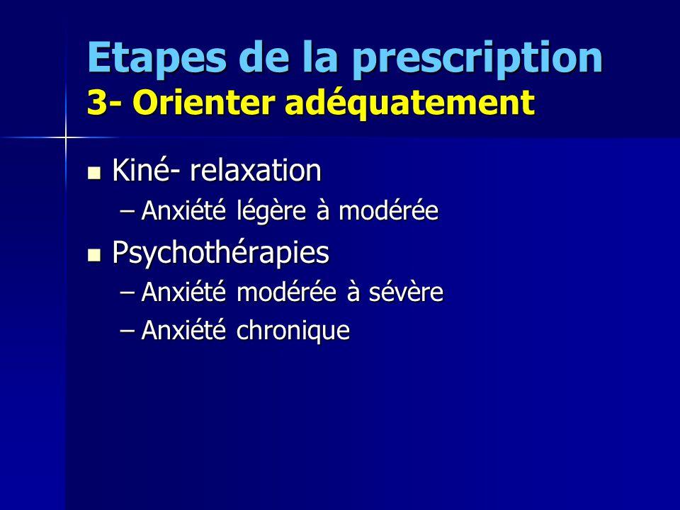 Etapes de la prescription 3- Orienter adéquatement Kiné- relaxation Kiné- relaxation –Anxiété légère à modérée Psychothérapies Psychothérapies –Anxiét