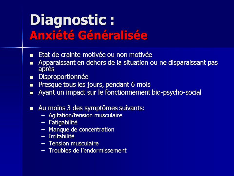 Diagnostic : Anxiété Généralisée Etat de crainte motivée ou non motivée Etat de crainte motivée ou non motivée Apparaissant en dehors de la situation