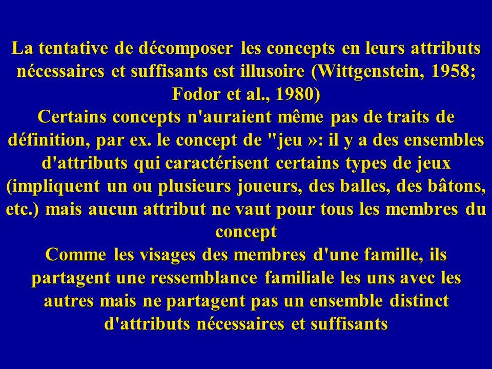La tentative de décomposer les concepts en leurs attributs nécessaires et suffisants est illusoire (Wittgenstein, 1958; Fodor et al., 1980) Certains c