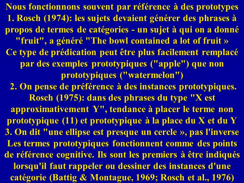 Nous fonctionnons souvent par référence à des prototypes 1. Rosch (1974): les sujets devaient générer des phrases à propos de termes de catégories - u