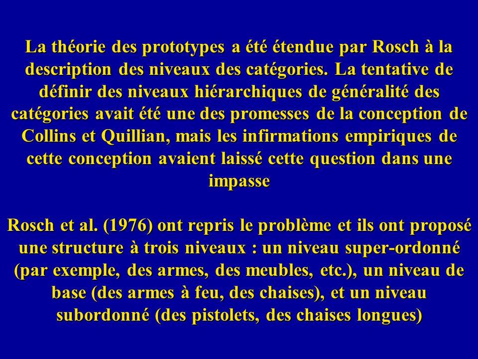La théorie des prototypes a été étendue par Rosch à la description des niveaux des catégories. La tentative de définir des niveaux hiérarchiques de gé