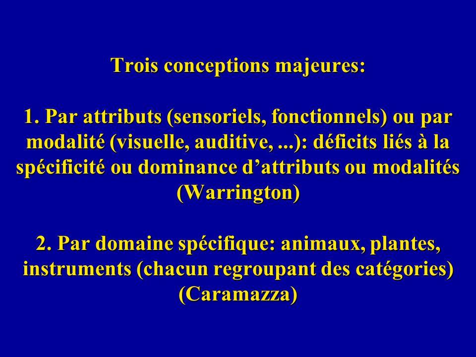 Trois conceptions majeures: 1. Par attributs (sensoriels, fonctionnels) ou par modalité (visuelle, auditive,...): déficits liés à la spécificité ou do