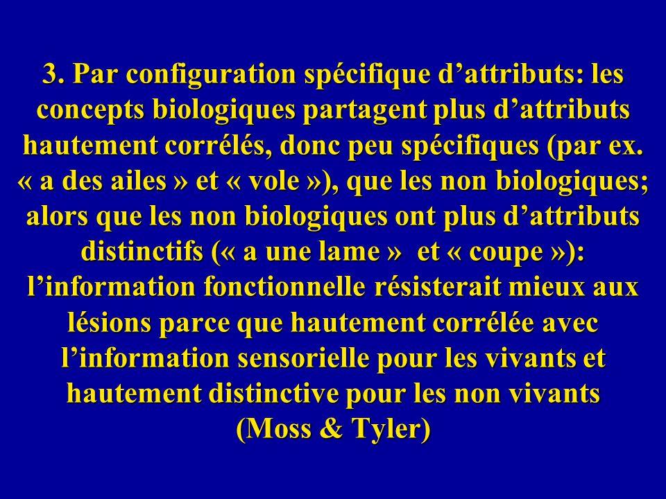 3. Par configuration spécifique dattributs: les concepts biologiques partagent plus dattributs hautement corrélés, donc peu spécifiques (par ex. « a d