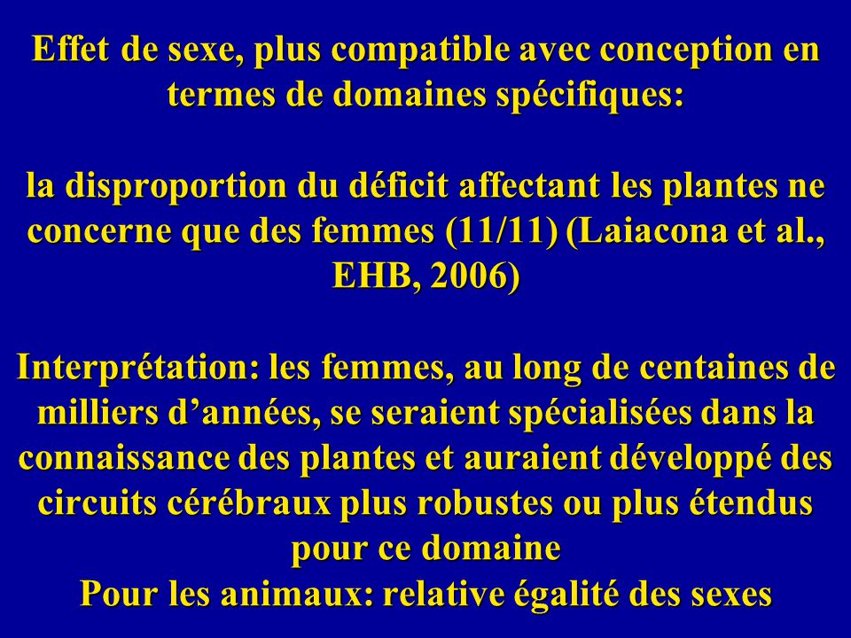 Effet de sexe, plus compatible avec conception en termes de domaines spécifiques: la disproportion du déficit affectant les plantes ne concerne que de