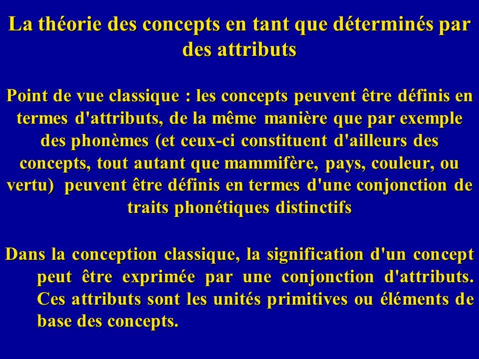 La théorie des concepts en tant que déterminés par des attributs Point de vue classique : les concepts peuvent être définis en termes d'attributs, de