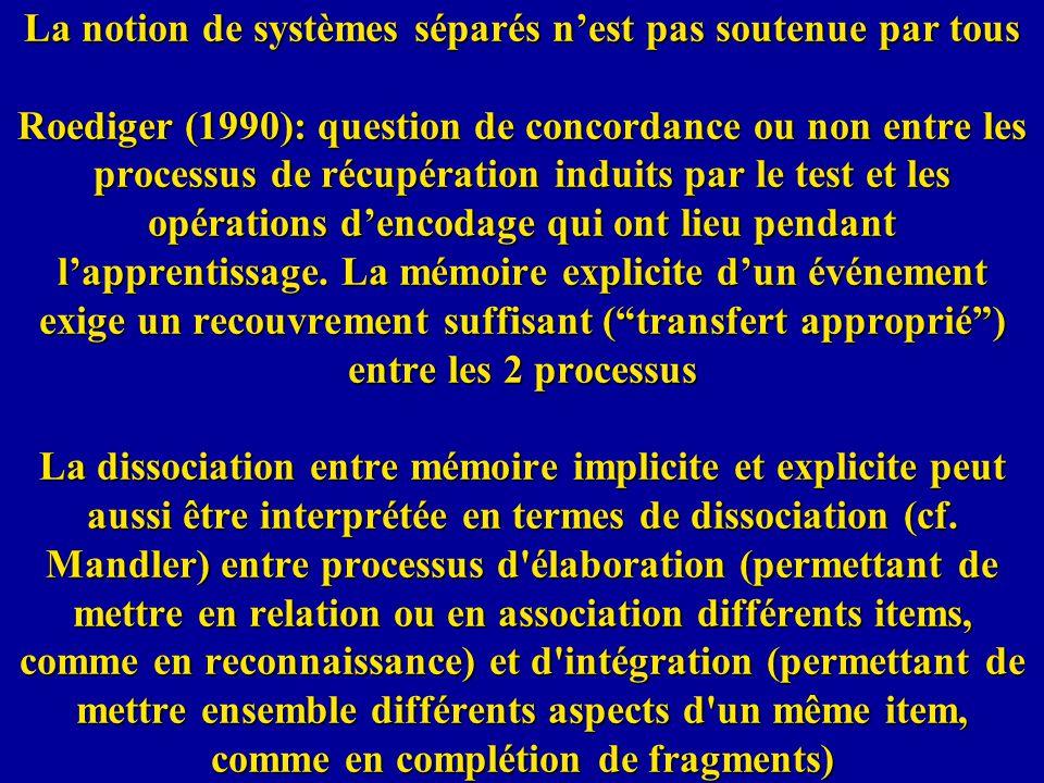La notion de systèmes séparés nest pas soutenue par tous Roediger (1990): question de concordance ou non entre les processus de récupération induits p