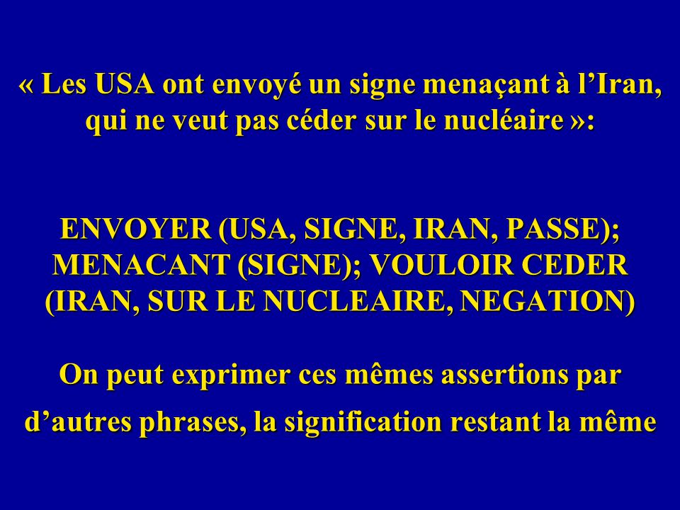 « Les USA ont envoyé un signe menaçant à lIran, qui ne veut pas céder sur le nucléaire »: ENVOYER (USA, SIGNE, IRAN, PASSE); MENACANT (SIGNE); VOULOIR