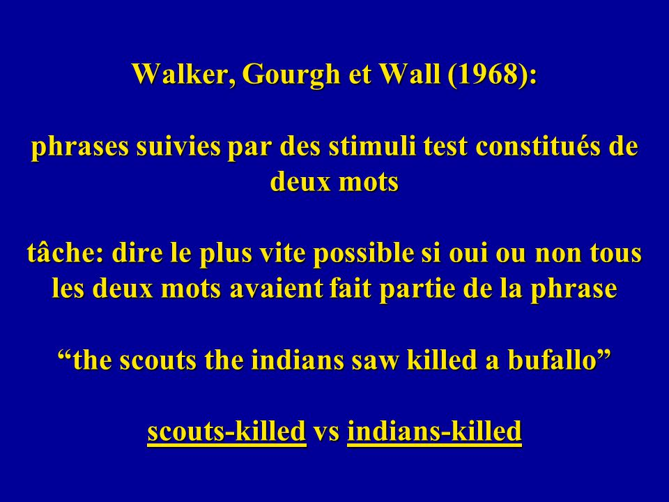 Walker, Gourgh et Wall (1968): phrases suivies par des stimuli test constitués de deux mots tâche: dire le plus vite possible si oui ou non tous les deux mots avaient fait partie de la phrase the scouts the indians saw killed a bufallo scouts-killed vs indians-killed