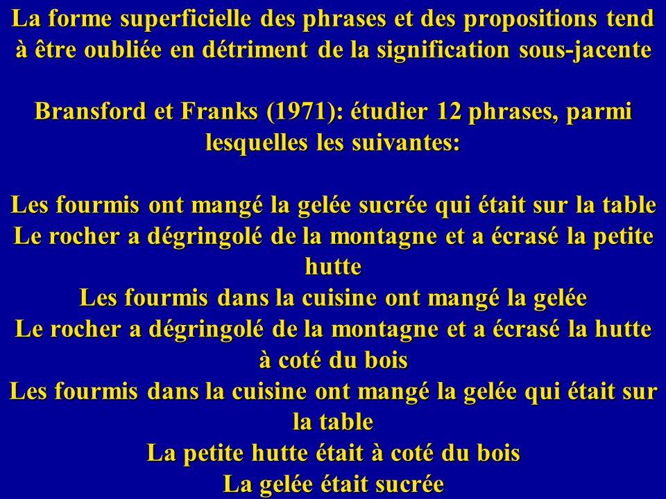 La forme superficielle des phrases et des propositions tend à être oubliée en détriment de la signification sous-jacente Bransford et Franks (1971): é