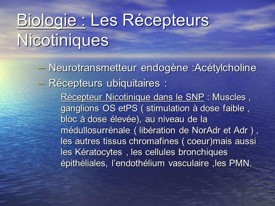 Biologie : Les Récepteurs Nicotiniques – Neurotransmetteur endogène :Acétylcholine – Récepteurs ubiquitaires : – Récepteur Nicotinique dans le SNP : M