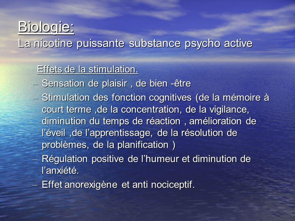 Biologie: La nicotine puissante substance psycho active Effets de la stimulation. Effets de la stimulation. – Sensation de plaisir, de bien -être – St