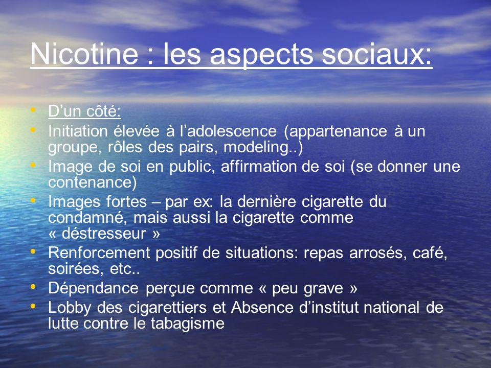 Nicotine : les aspects sociaux: Dun côté: Initiation élevée à ladolescence (appartenance à un groupe, rôles des pairs, modeling..) Image de soi en pub