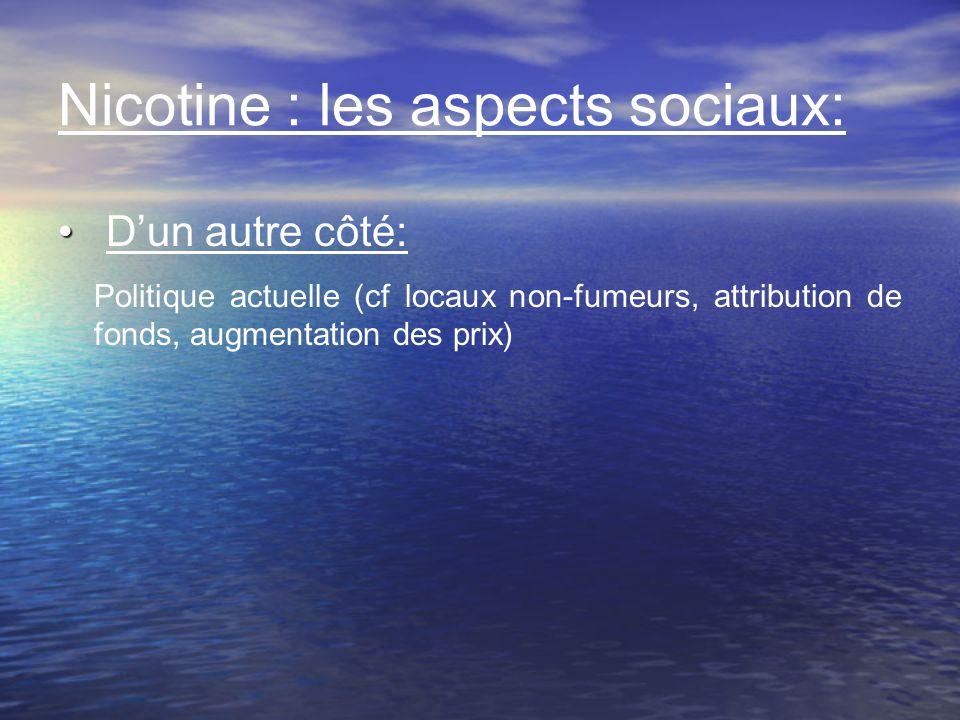 Nicotine : les aspects sociaux: Dun autre côté: Politique actuelle (cf locaux non-fumeurs, attribution de fonds, augmentation des prix)