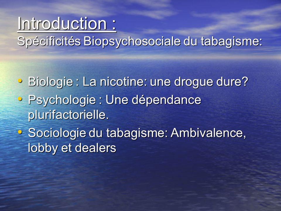 Introduction : Spécificités Biopsychosociale du tabagisme: Biologie : La nicotine: une drogue dure? Biologie : La nicotine: une drogue dure? Psycholog